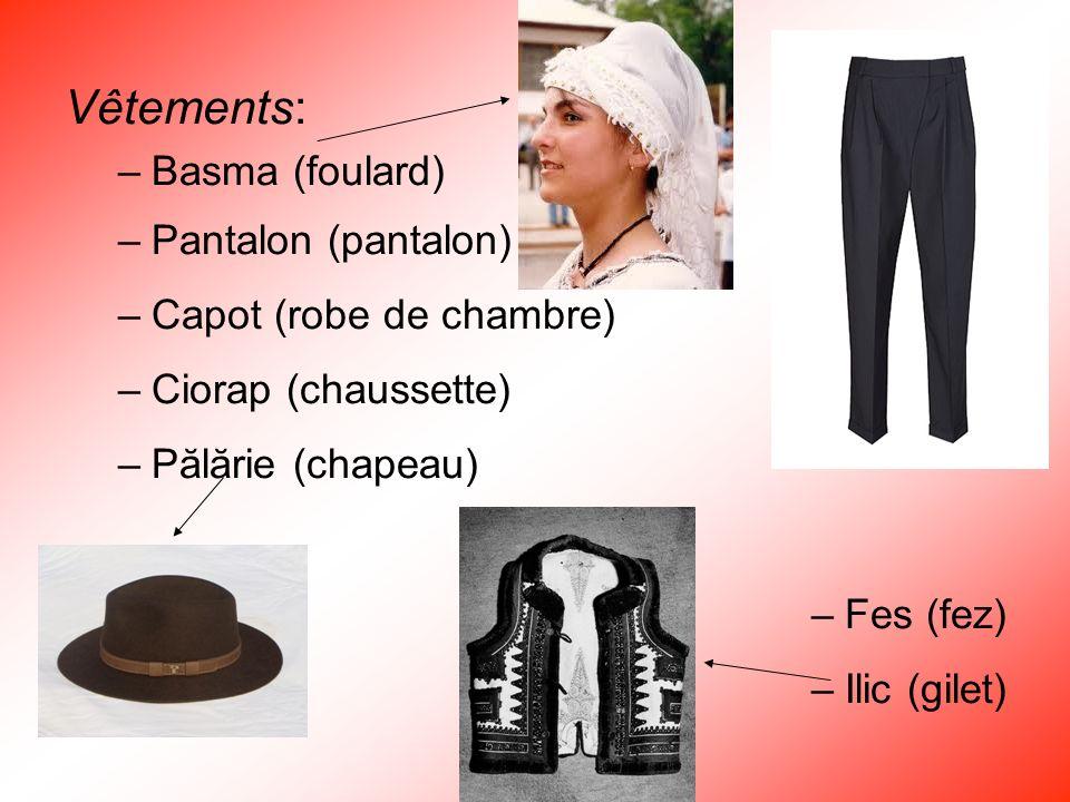 Vêtements: Basma (foulard) Pantalon (pantalon) Capot (robe de chambre)