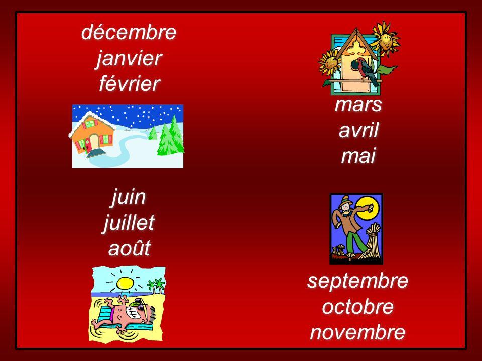 décembre janvier février mars avril mai juin juillet août septembre octobre novembre