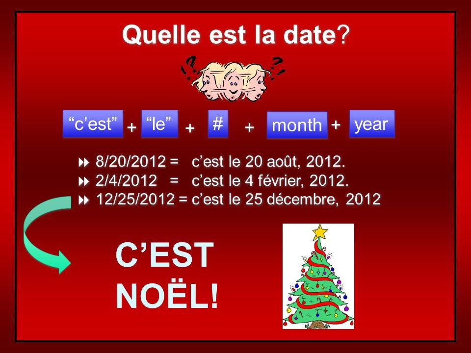 C'EST NOËL! Quelle est la date c'est le # + + month + year +