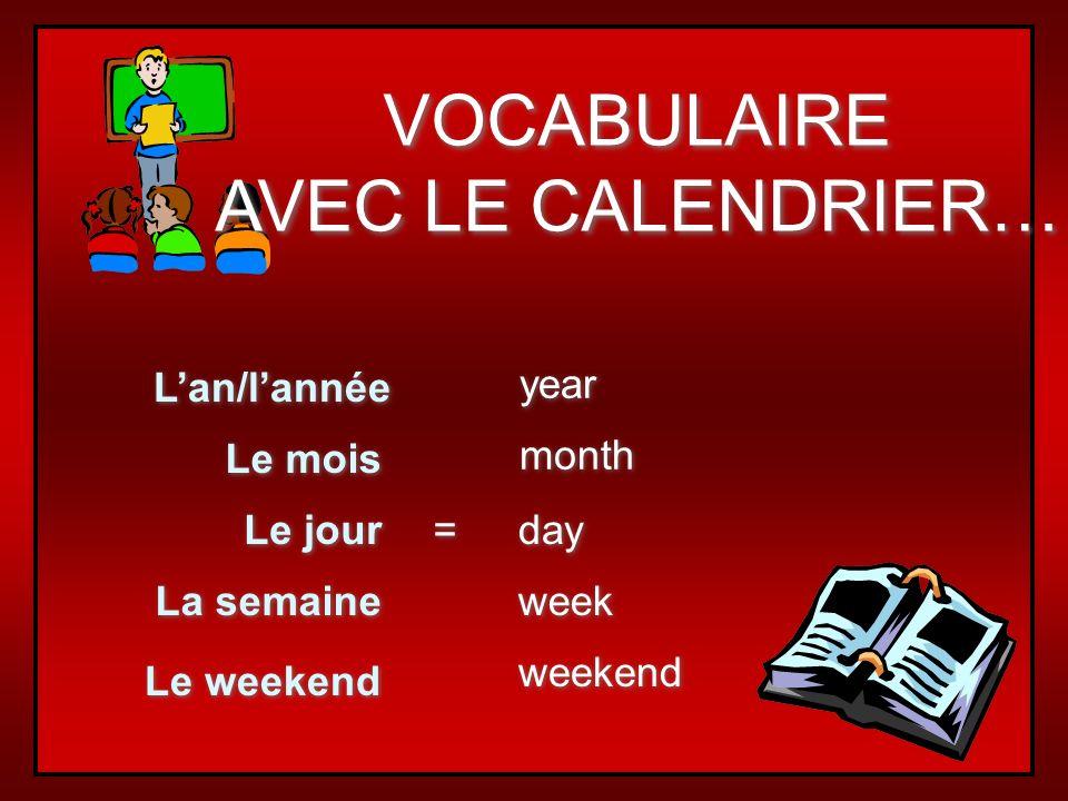 VOCABULAIRE AVEC LE CALENDRIER… L'an/l'année year Le mois month
