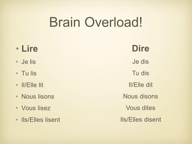 Brain Overload! Lire Dire Je lis Je dis Tu lis Tu dis Il/Elle lit