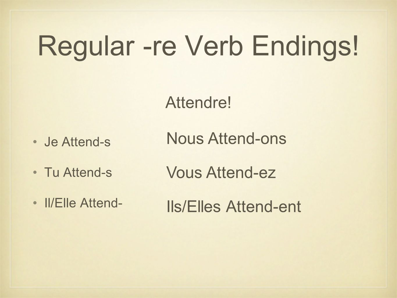 Regular -re Verb Endings!