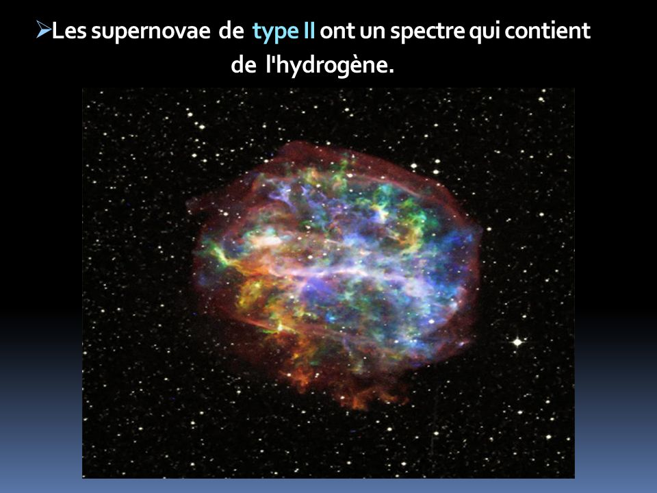 Les supernovae de type II ont un spectre qui contient de l hydrogène.