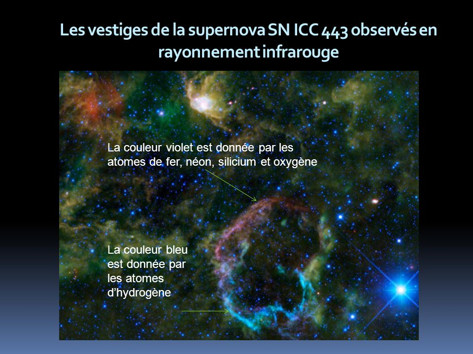 Les vestiges de la supernova SN ICC 443 observés en rayonnement infrarouge