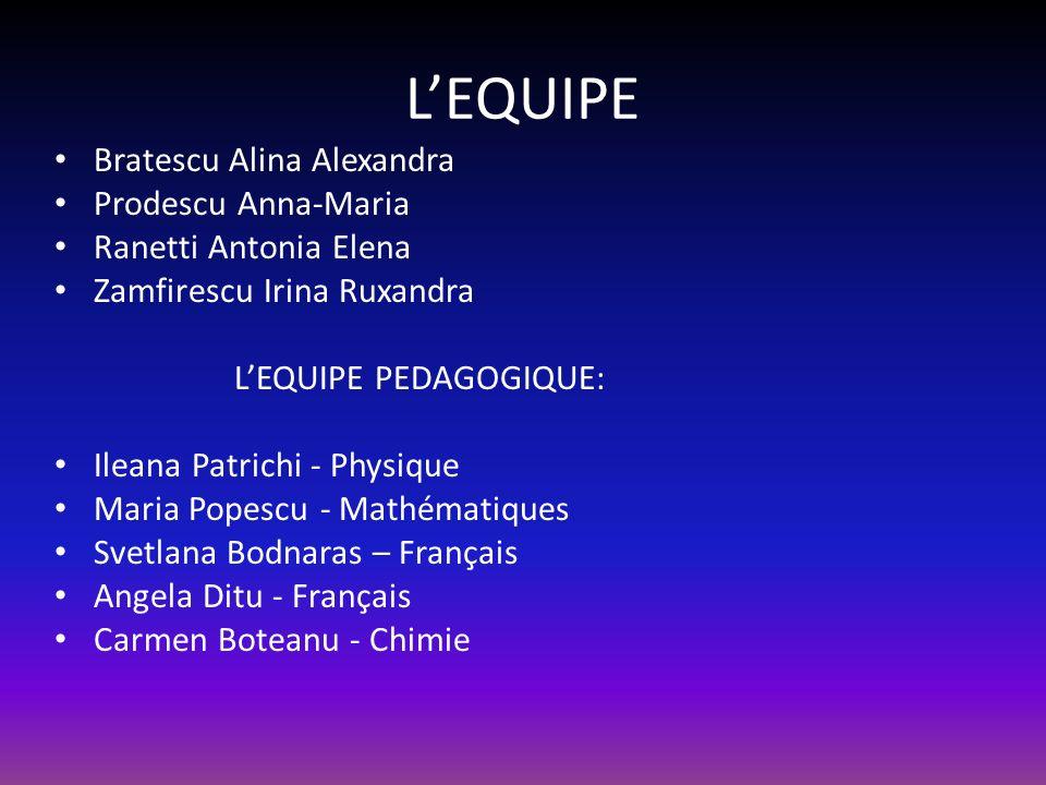 L'EQUIPE Bratescu Alina Alexandra Prodescu Anna-Maria
