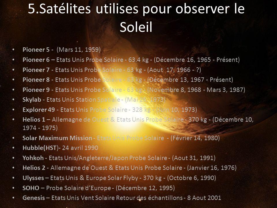 5.Satélites utilises pour observer le Soleil