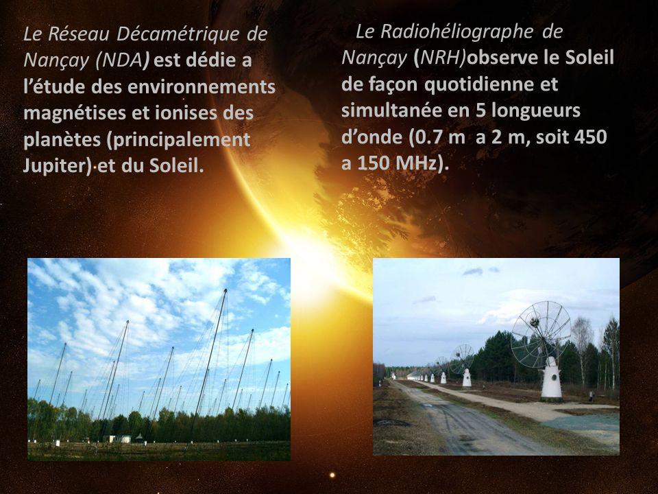Le Radiohéliographe de Nançay (NRH)observe le Soleil de façon quotidienne et simultanée en 5 longueurs d'onde (0.7 m a 2 m, soit 450 a 150 MHz).