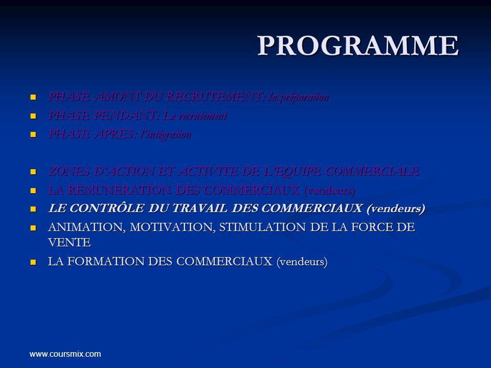 PROGRAMME PHASE AMONT DU RECRUTEMENT: la préparation