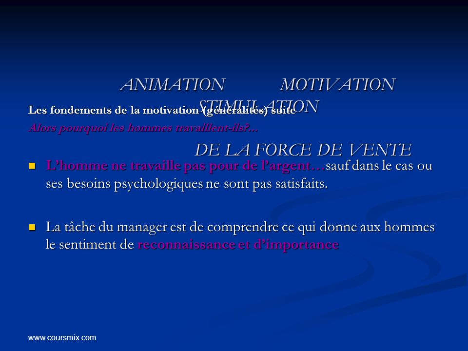 ANIMATION MOTIVATION STIMULATION DE LA FORCE DE VENTE