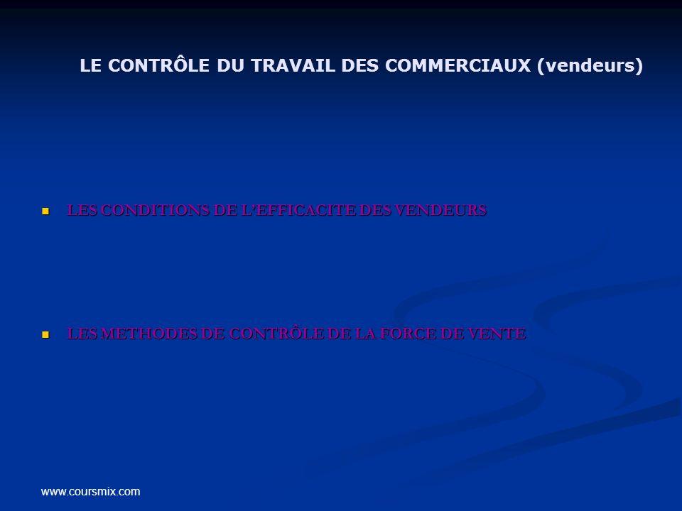 LE CONTRÔLE DU TRAVAIL DES COMMERCIAUX (vendeurs)