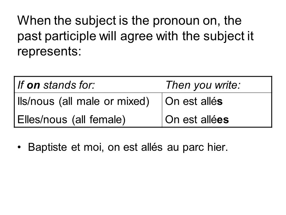 When the subject is the pronoun on, the past participle will agree with the subject it represents: