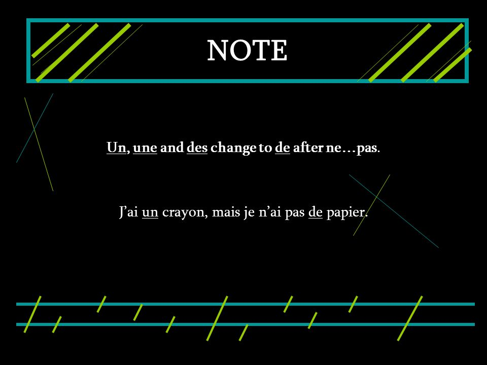 NOTE Un, une and des change to de after ne…pas.