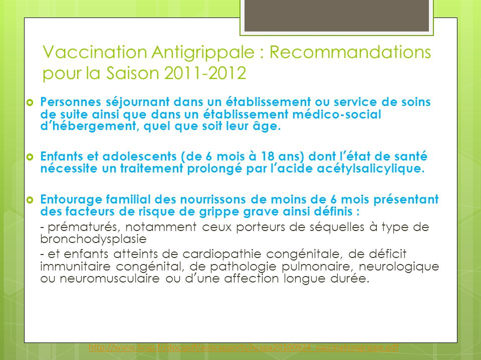 Vaccination Antigrippale : Recommandations pour la Saison 2011-2012