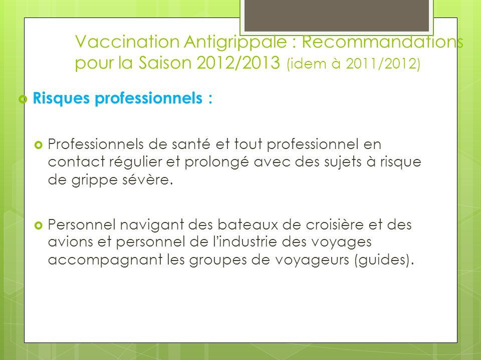 Vaccination Antigrippale : Recommandations pour la Saison 2012/2013 (idem à 2011/2012)