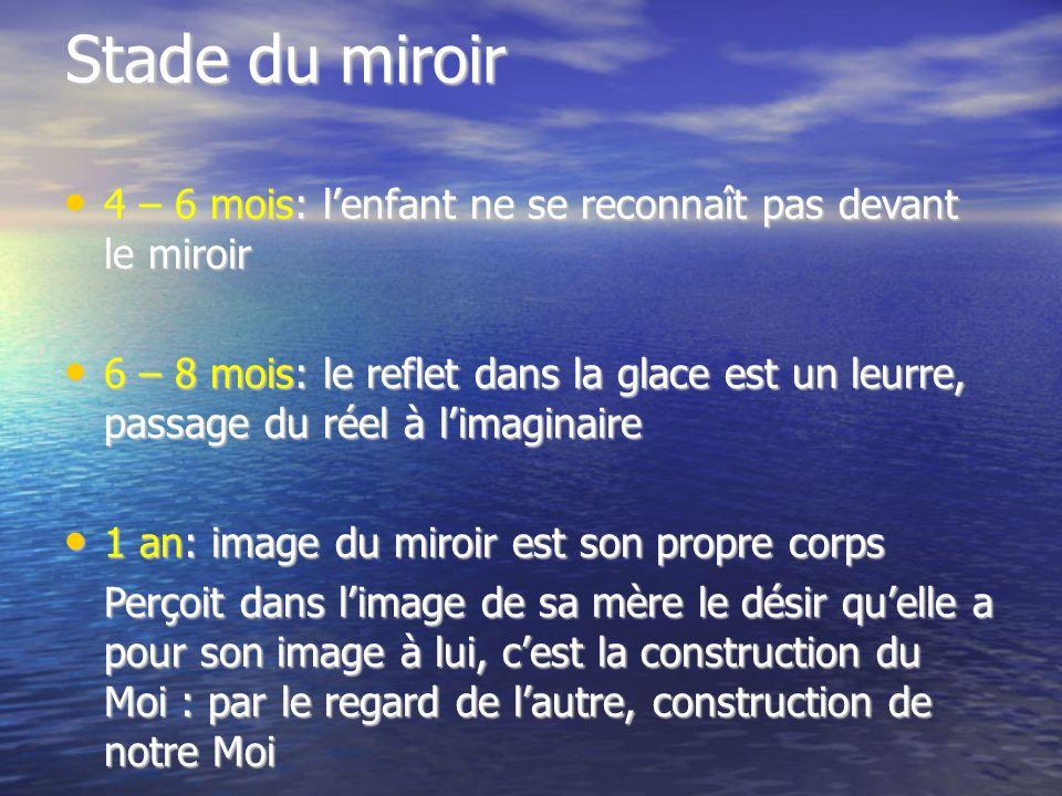 Stade du miroir 4 – 6 mois: l'enfant ne se reconnaît pas devant le miroir.