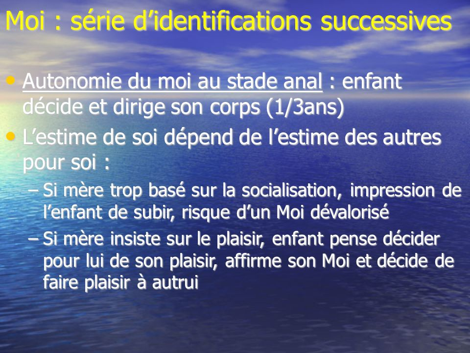 Moi : série d'identifications successives