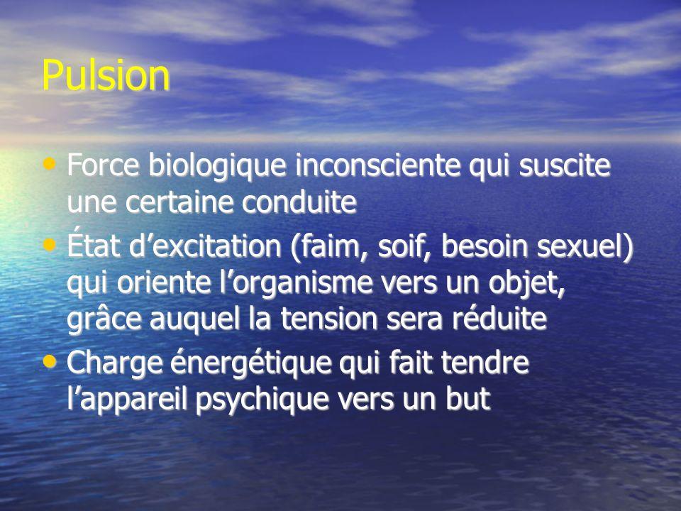 Pulsion Force biologique inconsciente qui suscite une certaine conduite.