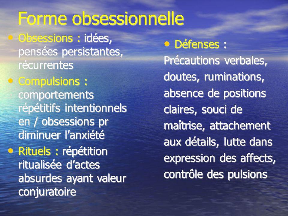 Forme obsessionnelle Obsessions : idées, pensées persistantes, récurrentes.
