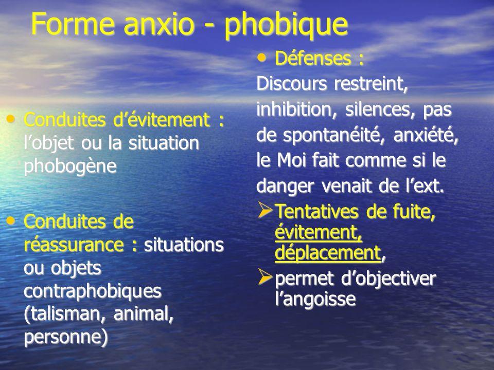 Forme anxio - phobique Défenses : Discours restreint,
