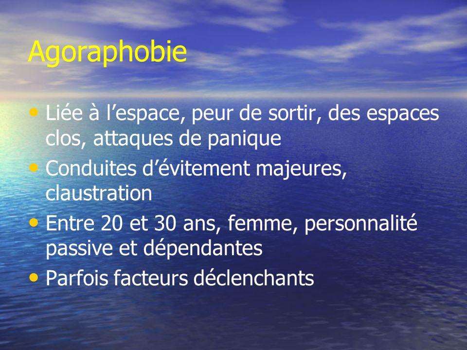 Agoraphobie Liée à l'espace, peur de sortir, des espaces clos, attaques de panique. Conduites d'évitement majeures, claustration.