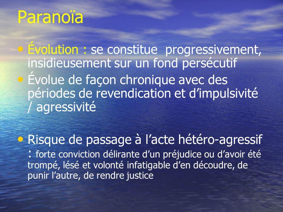 Paranoïa Évolution : se constitue progressivement, insidieusement sur un fond persécutif.