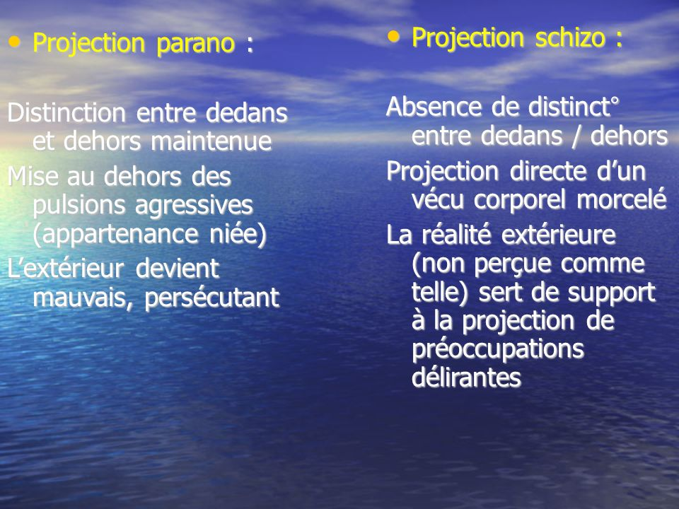 Projection schizo : Absence de distinct° entre dedans / dehors. Projection directe d'un vécu corporel morcelé.