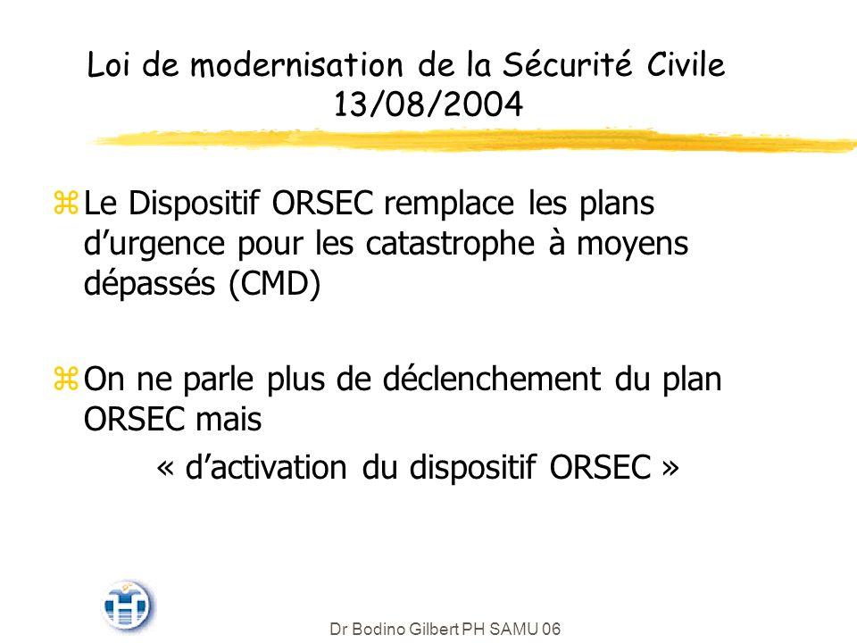 Loi de modernisation de la Sécurité Civile 13/08/2004