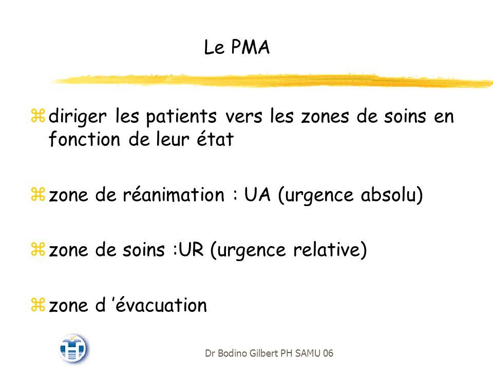 Le PMA diriger les patients vers les zones de soins en fonction de leur état. zone de réanimation : UA (urgence absolu)