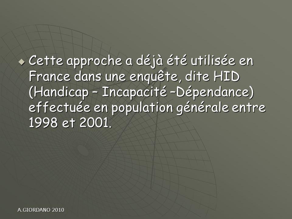 Cette approche a déjà été utilisée en France dans une enquête, dite HID (Handicap – Incapacité –Dépendance) effectuée en population générale entre 1998 et 2001.