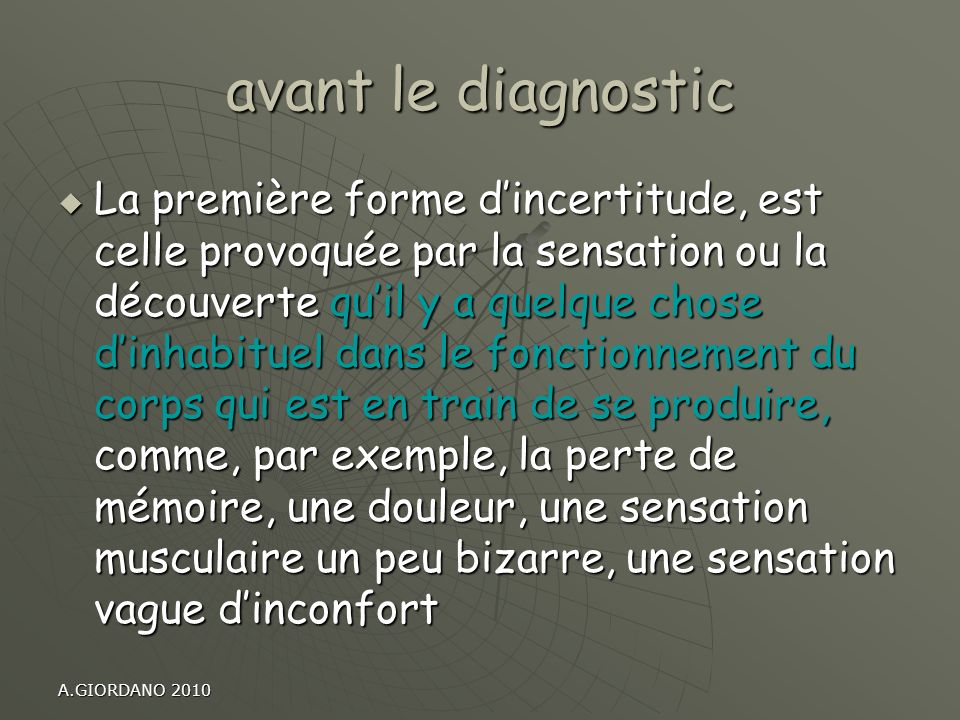 avant le diagnostic