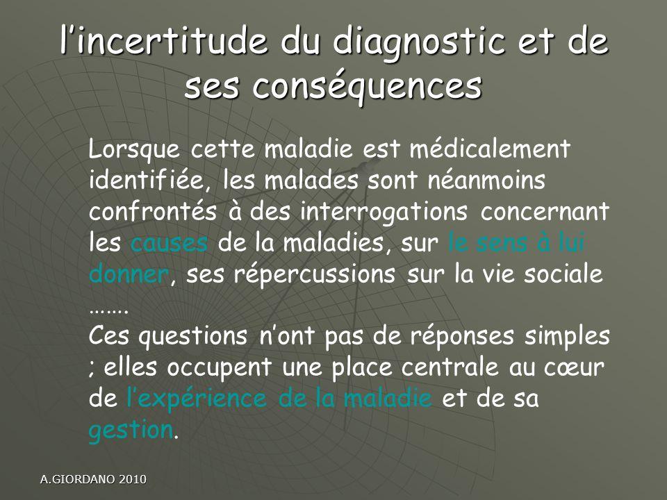 l'incertitude du diagnostic et de ses conséquences