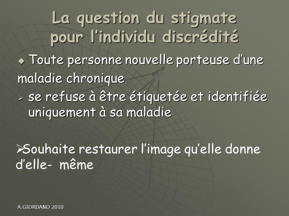 La question du stigmate pour l'individu discrédité