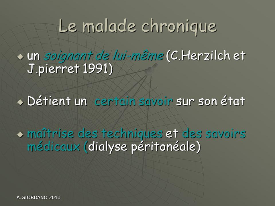 Le malade chronique un soignant de lui-même (C.Herzilch et J.pierret 1991) Détient un certain savoir sur son état.