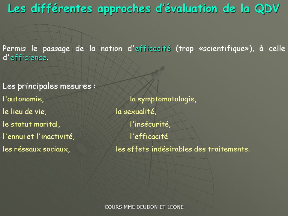 Les différentes approches d'évaluation de la QDV