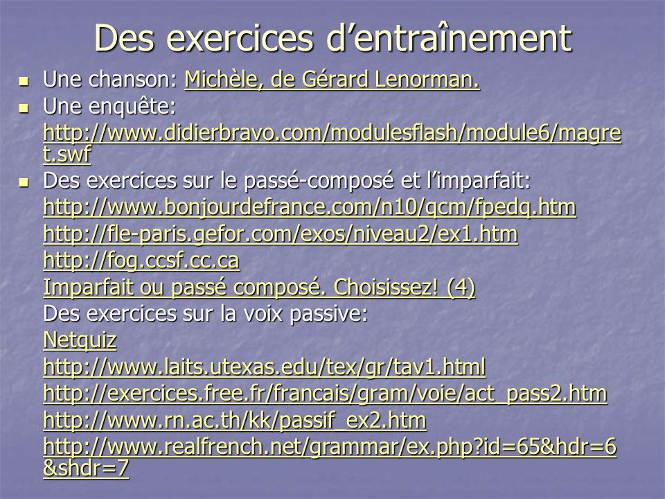 Des exercices d'entraînement