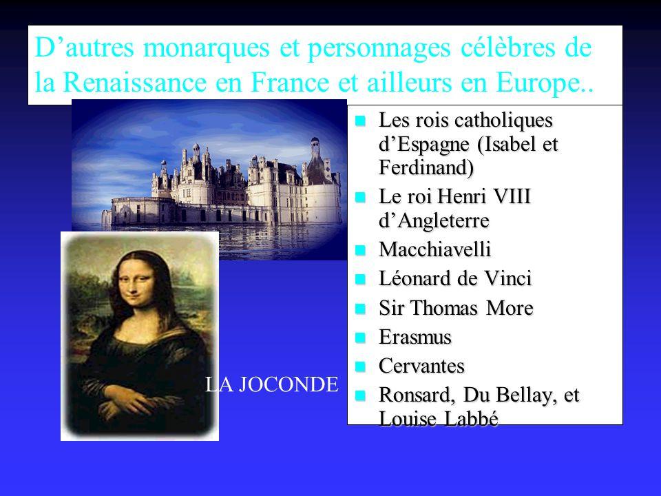 D'autres monarques et personnages célèbres de la Renaissance en France et ailleurs en Europe..