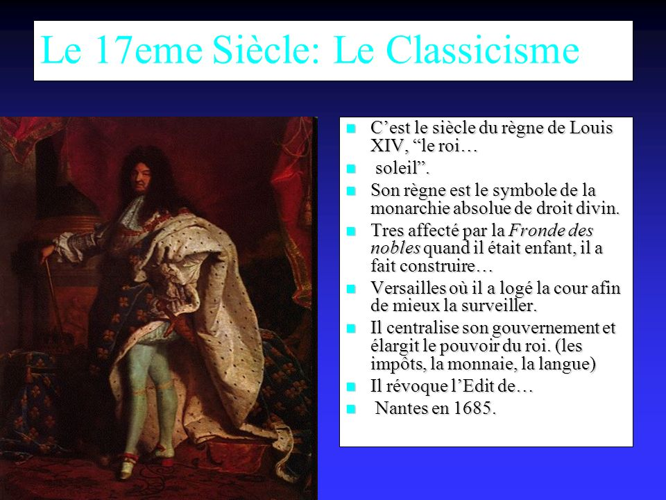 Le 17eme Siècle: Le Classicisme