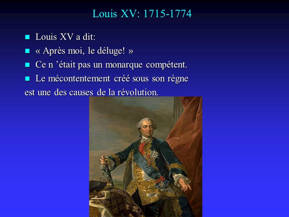 Louis XV: 1715-1774 Louis XV a dit: « Après moi, le déluge! »