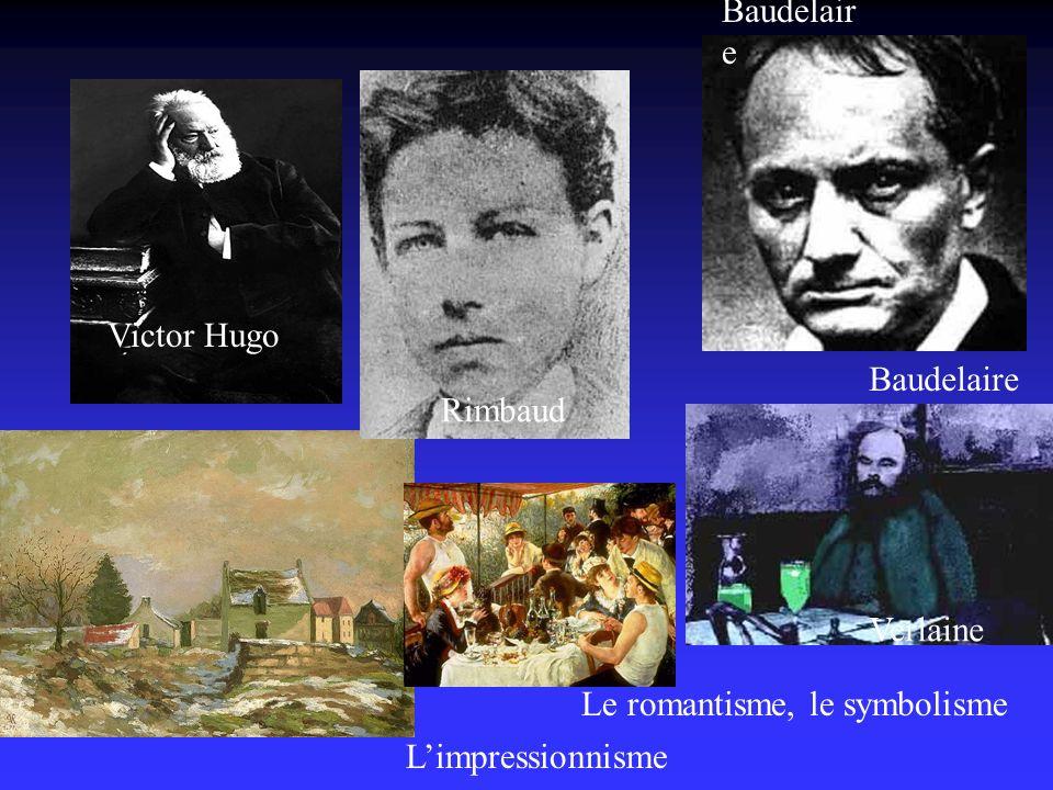 Baudelaire Victor Hugo Baudelaire Rimbaud Verlaine Le romantisme, le symbolisme L'impressionnisme