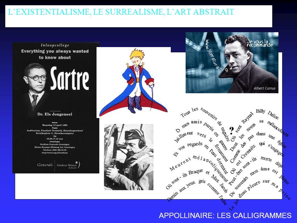 L'EXISTENTIALISME, LE SURREALISME, L'ART ABSTRAIT