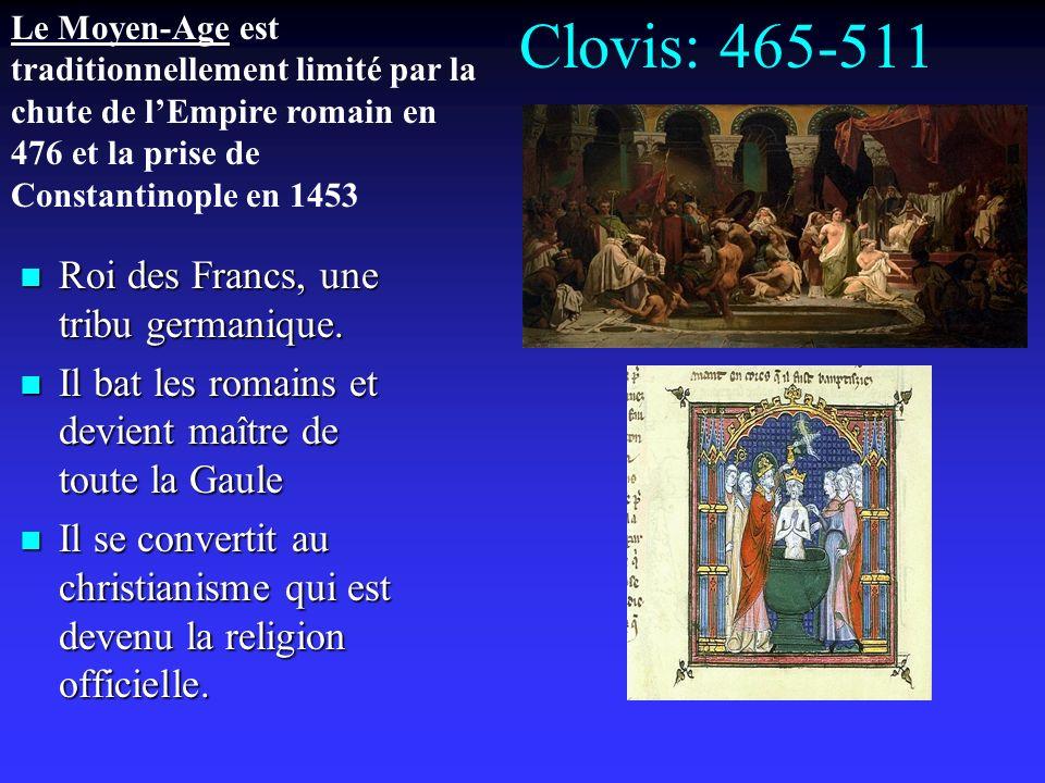 Clovis: 465-511 Roi des Francs, une tribu germanique.