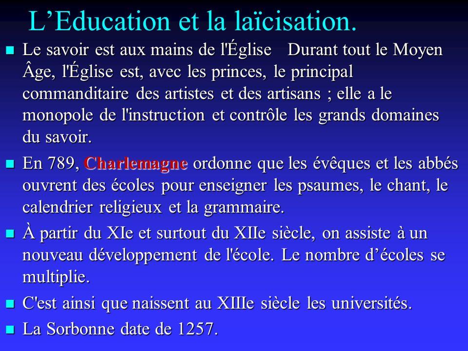 L'Education et la laïcisation.