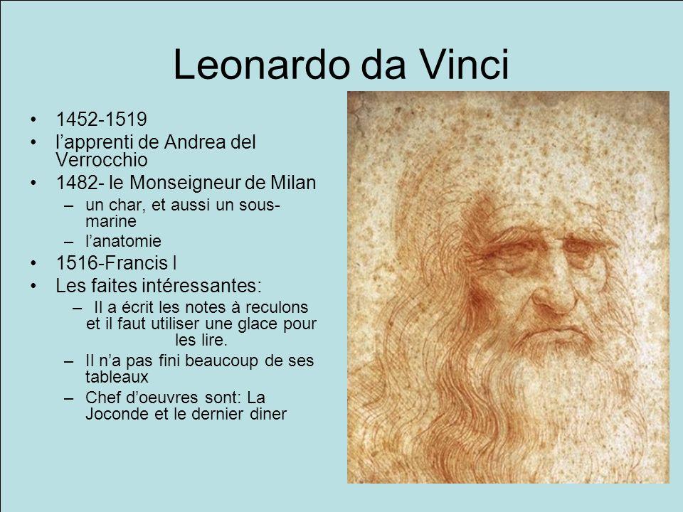 Leonardo da Vinci 1452-1519 l'apprenti de Andrea del Verrocchio