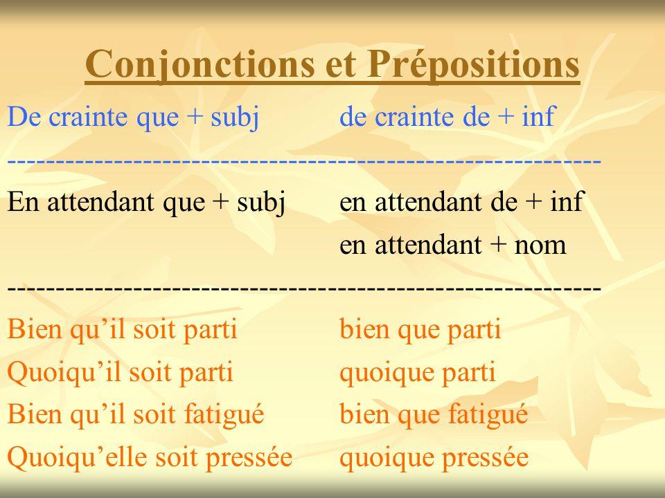 Conjonctions et Prépositions