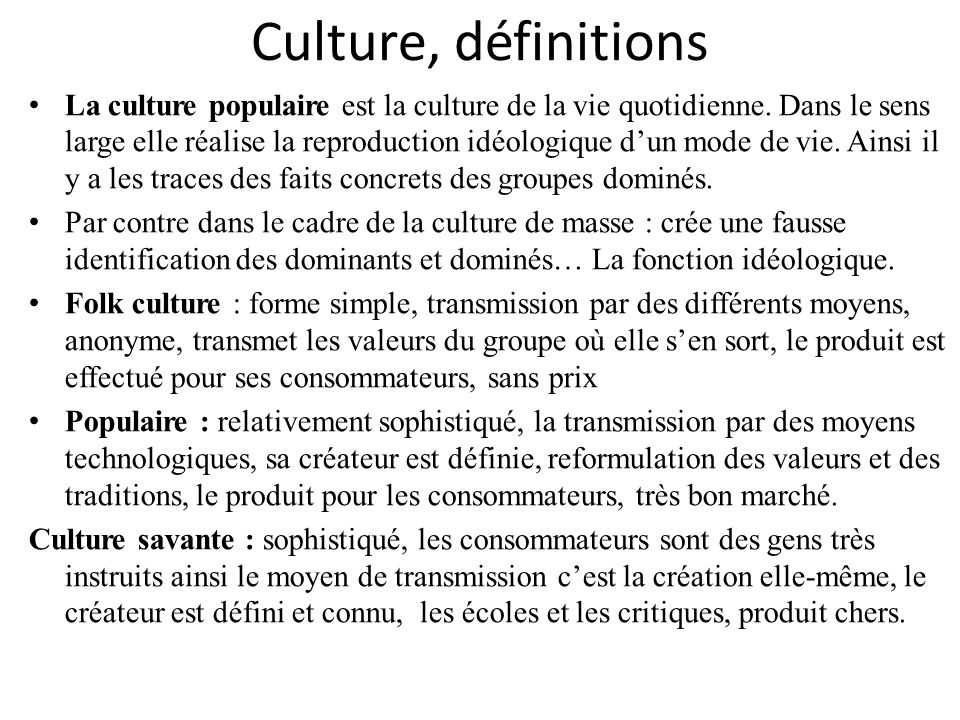 Culture, définitions
