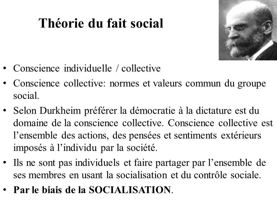 Théorie du fait social Conscience individuelle / collective