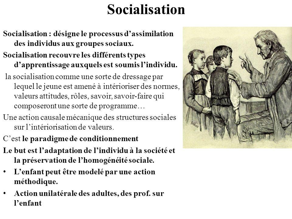 Socialisation Socialisation : désigne le processus d'assimilation des individus aux groupes sociaux.