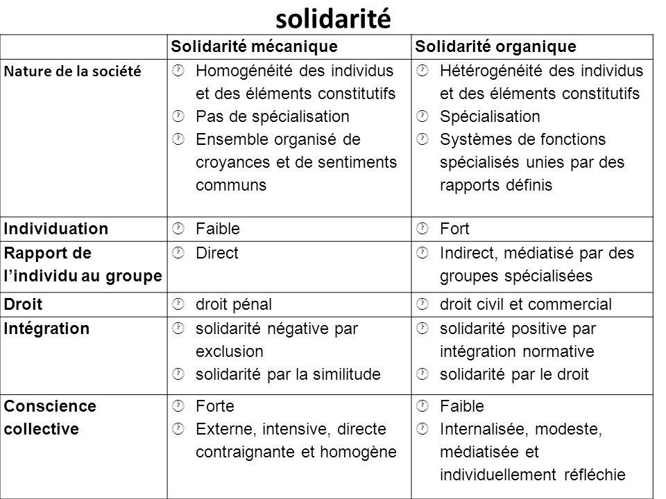 solidarité Solidarité mécanique Solidarité organique