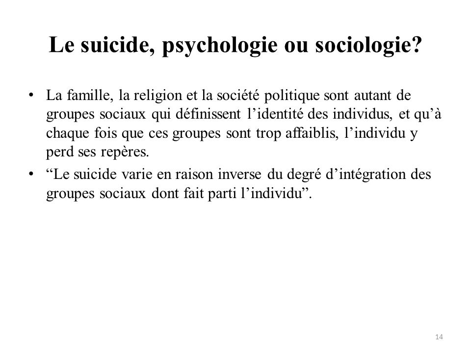 Le suicide, psychologie ou sociologie