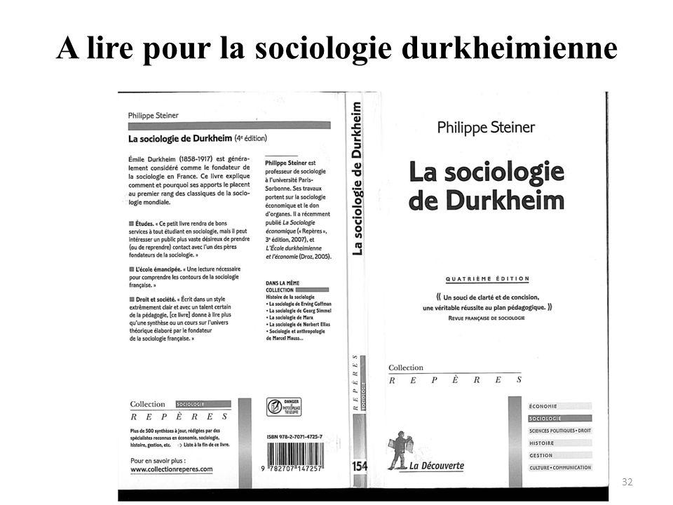 A lire pour la sociologie durkheimienne